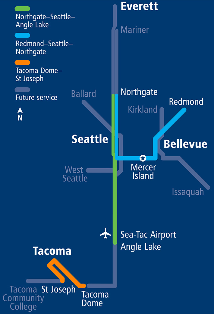 Line graphic showing current connections for Link Light Rail. A green line extends from Northgate to Angle Lake, an orange line in Tacoma connects the Tacoma Dome to St Joseph and a Blue Line connects North Gate to Redmond.