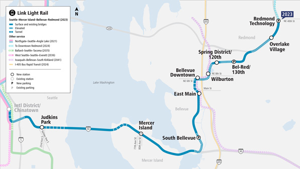 Aerial map of the Seattle, Mercer Island, Bellevue and Redmond Lnk Light Rail Extension. A blue line connects from the International District/China Town in Seattle, through Mercer Island, and north to Redmond.