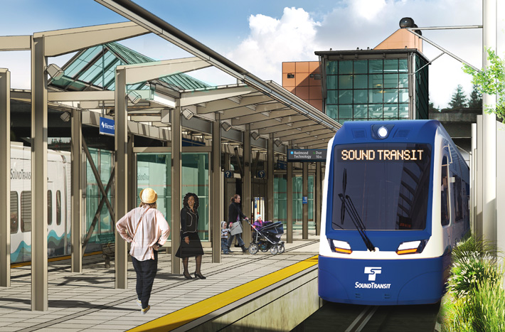 Mock up image of future Mercer Island Station. A Light rail approaches the platform with the words Sound Transit On it. The platform is made of concrete with metal and glass awnings over areas where passengers are standing.